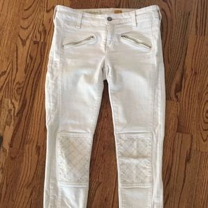 Anthro Pilcro and the Letterpress White Moto Jeans